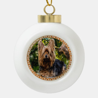 Adorable Yorkshire brown and black terrier Ceramic Ball Christmas Ornament