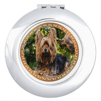Adorable Yorkshire brown and black terrier Makeup Mirror