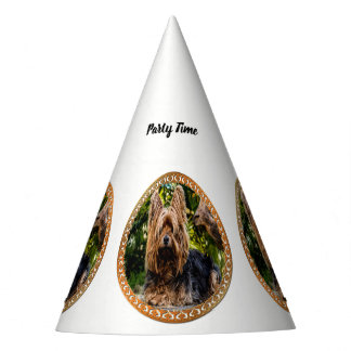 Adorable Yorkshire brown and black terrier Party Hat