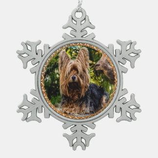 Adorable Yorkshire brown and black terrier Snowflake Pewter Christmas Ornament