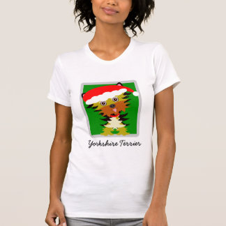 Adorable Yorkshire Terrier Cartoon Christmas T-Shirt