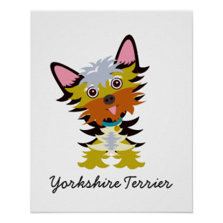 Adorable Yorkshire Terrier Cartoon Poster