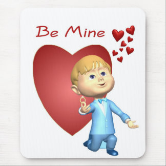 Adorable Young Man With Engagement Ring Caricature Mouse Pad