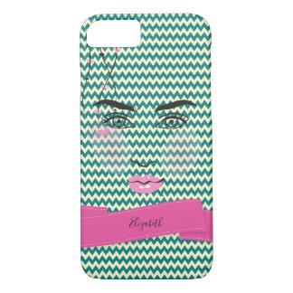 Adorable Zigzag,Chevron,Face Silhoutte-Personalize iPhone 8/7 Case