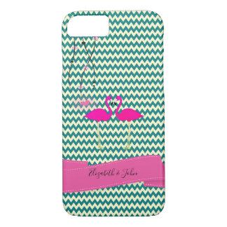Adorable Zigzag,Chevron Flamingos -Personalize iPhone 8/7 Case