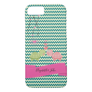 Adorable Zigzag,Chevron Turtle In Love-Personalize iPhone 8/7 Case