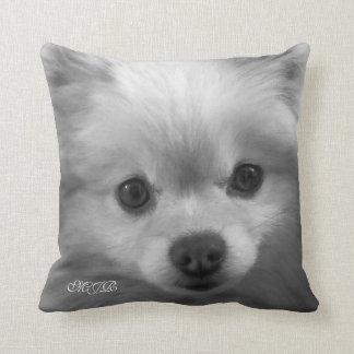 Adorably Cute Pomeranian Puppy Monogram Cushion