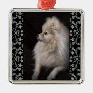 Adorably Cute Posing Pomeranian Puppy Metal Ornament