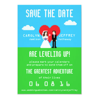 Adorably Nerdy 8-Bit Bride & Groom Save the Dates Card