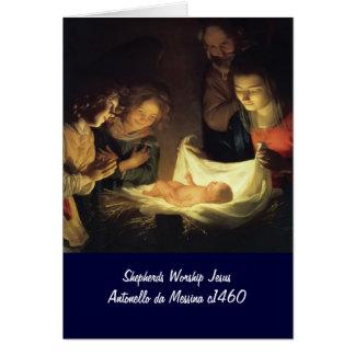 Adoration of Child Adorazion del Bambino Card