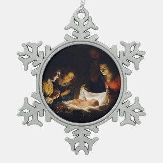 Adoration of Child Adorazion del Bambino Snowflake Pewter Christmas Ornament