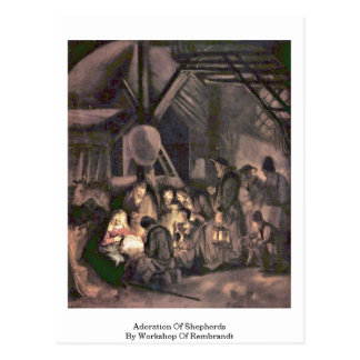 Adoration Of Shepherds By Workshop Of Rembrandt Postcard