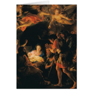 Adoration of shepherds w angels card