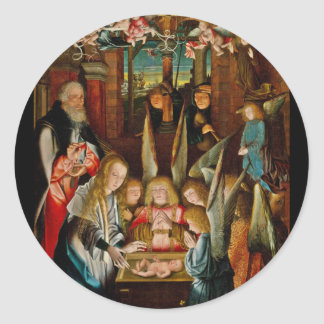 Adoration of the Angels Classic Round Sticker