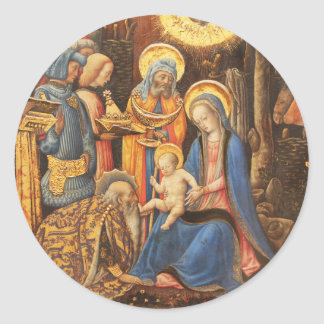 Adoration of the Kings  (Adorazione dei Magi) Classic Round Sticker