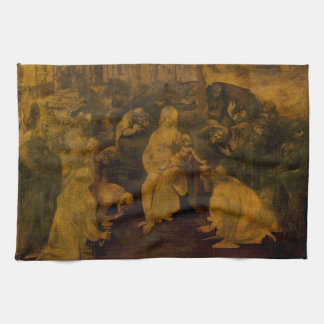 Adoration of the Magi by Leonardo da Vinci Tea Towel