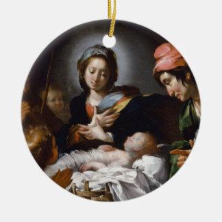 Adoration of the Shepherds 17th Century Ceramic Ornament