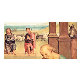 Adoration Of The Shepherds Detail By Perugino Photo Greeting Card