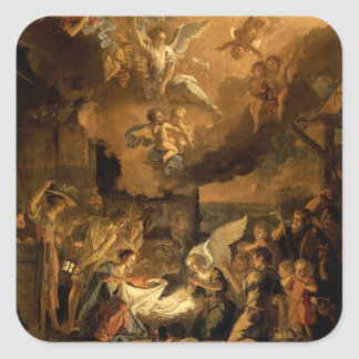 Adoration of the Shepherds Fine Art Christmas Square Sticker