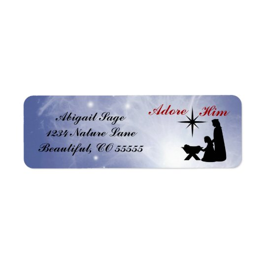 Adore Him - Nativity Scene Return Address Labels