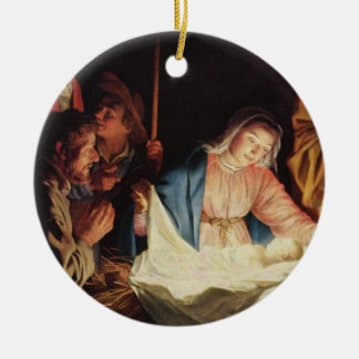 Adoring Shepherds by von Honthorst Double-Sided Ceramic Round Christmas Ornament