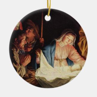 Adoring Shepherds by von Honthorst Round Ceramic Decoration
