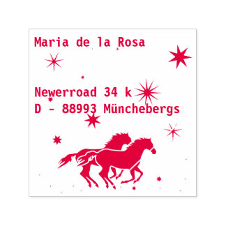 Adress and Horses Self-inking Stamp