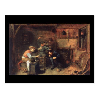 Adriaen Brouwer Peasants Fighting Postcard