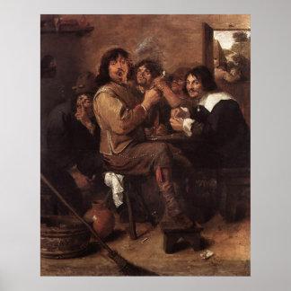 Adriaen Brouwer Smoking Men Poster