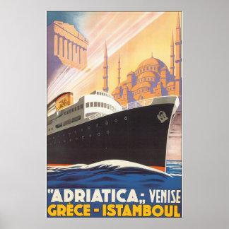 Adriatica Venise Grece Istamboul Vintage Travel Po Poster