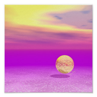 Adrift, Abstract Gold Violet Ocean Poster