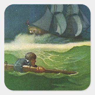 Adrift at Sea Square Sticker