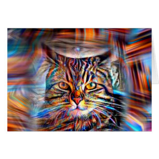 Adrift in Colors Abstract Revolution Cat Card