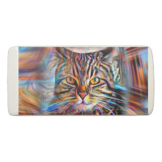 Adrift in Colors Abstract Revolution Cat Eraser