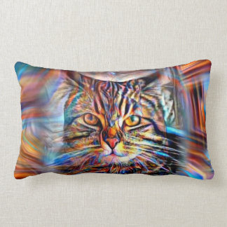 Adrift in Colors Abstract Revolution Cat Lumbar Cushion