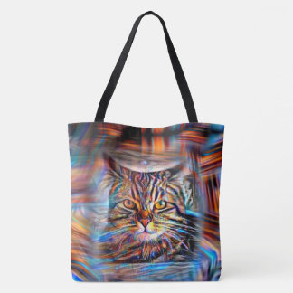 Adrift in Colors Abstract Revolution Cat Tote Bag