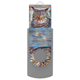 Adrift in Colors Abstract Revolution Cat USB Flash Drive