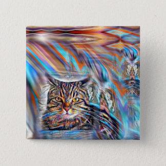 Adrift in Colors Tropical Sunset Cat 15 Cm Square Badge
