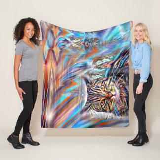Adrift in Colors Tropical Sunset Cat Fleece Blanket