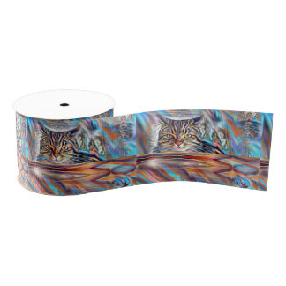 Adrift in Colors Tropical Sunset Cat Grosgrain Ribbon