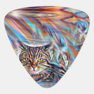 Adrift in Colors Tropical Sunset Cat Guitar Pick