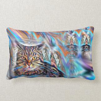 Adrift in Colors Tropical Sunset Cat Lumbar Cushion
