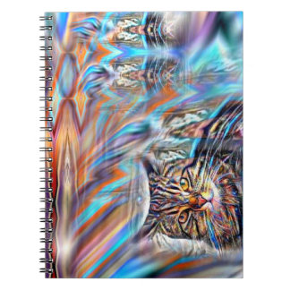 Adrift in Colors Tropical Sunset Cat Notebook