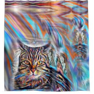Adrift in Colors Tropical Sunset Cat Shower Curtain
