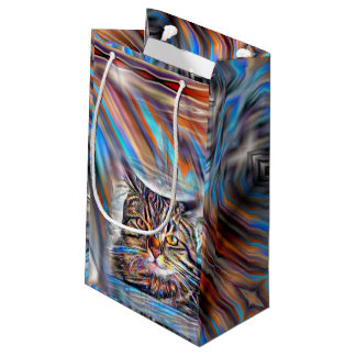 Adrift in Colors Tropical Sunset Cat Small Gift Bag