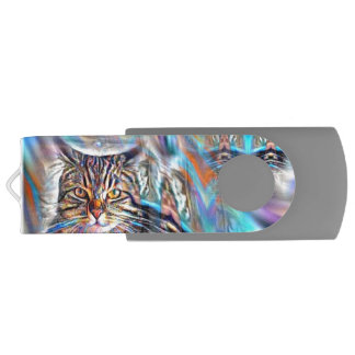Adrift in Colors Tropical Sunset Cat USB Flash Drive