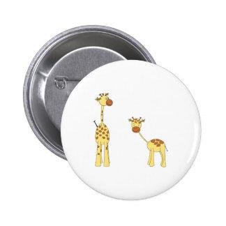 Adult and Baby Giraffe. Cartoon 6 Cm Round Badge