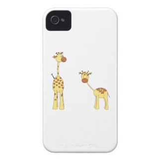 Adult and Baby Giraffe Cartoon iPhone 4 Case-Mate Case