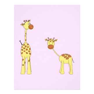 Adult and Baby Giraffe. Cartoon Full Color Flyer