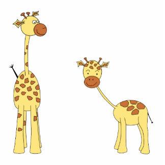 Adult and Baby Giraffe. Cartoon Photo Sculpture Magnet